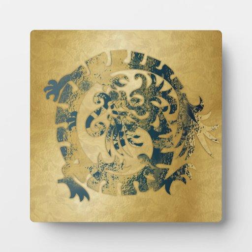 Blue Dragon Icon on Gold - 1NBG - Plaque