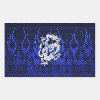Blue Dragon in Chrome Carbon Fiber Styles Rectangular Sticker