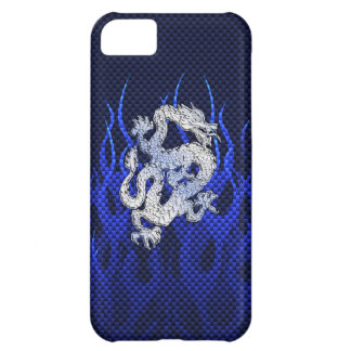 Blue Dragon in Chrome Carbon like flames Cover For iPhone 5C