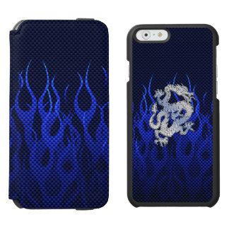 Blue Dragon in Chrome Carbon like flames iPhone 6/6s Wallet Case
