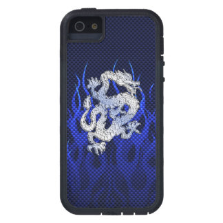 Blue Dragon in Chrome Carbon like flames iPhone SE/5/5s Case