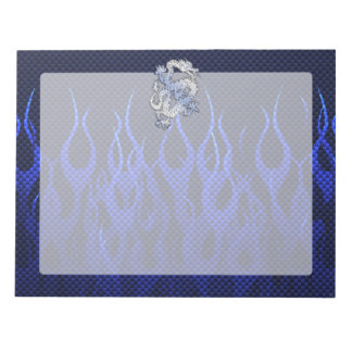 Blue Dragon in Chrome Carbon racing flames Notepad