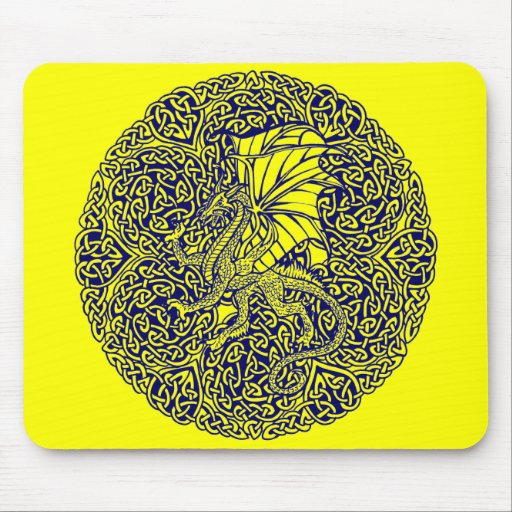 Blue Dragon in Round Celtic Knot. Mouse Pad