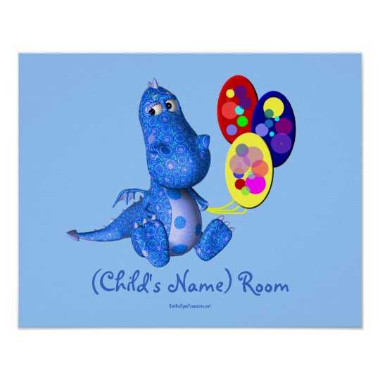 Blue Dragon Kids Room Personalized Wall Poster