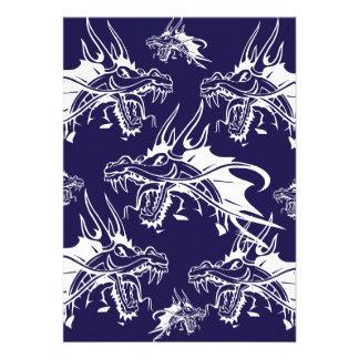 Blue Dragon Mythical Creature Fantasy Design Invitation