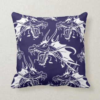 Blue Dragon Mythical Creature Fantasy Design Pillow