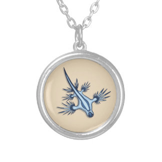 Blue Dragon Nudibranch Silver Plated Necklace