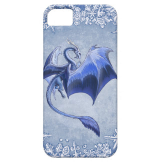 """Blue """"Dragon of Winter"""" Fantasy Art iPhone 5 Cover"""