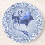 Blue Dragon of Winter Fantasy Nature Art Coasters