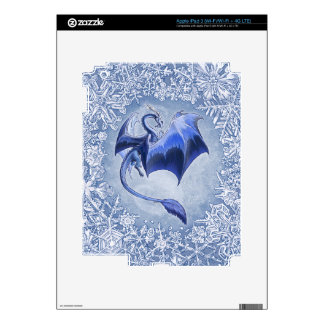Blue Dragon of Winter Fantasy Nature Art Decals For iPad 3