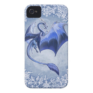 Blue Dragon of Winter Fantasy Nature Art iPhone 4 Case-Mate Case
