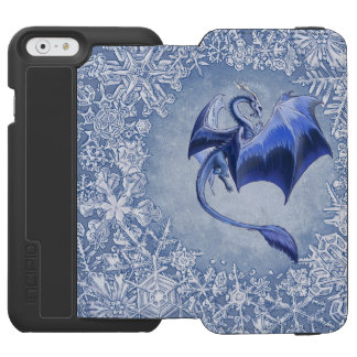 Blue Dragon of Winter Fantasy Nature Art iPhone 6/6s Wallet Case
