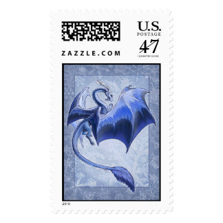 Blue Dragon of Winter Fantasy Nature Art Postage
