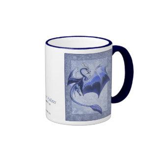 Blue Dragon of Winter Fantasy Nature Art Ringer Mug