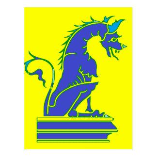 Blue Dragon on Pedestal Postcard