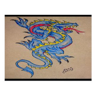 blue dragon parchment card (horz) postcard