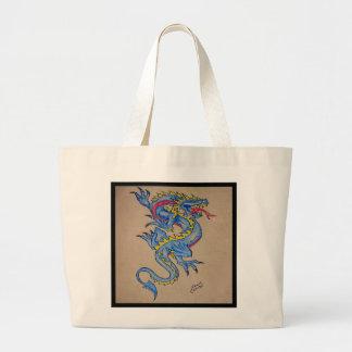 blue dragon parchment card (square) canvas bag