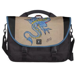 blue dragon parchment card (square) laptop commuter bag