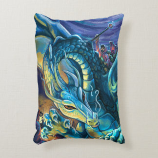 Blue Dragon Rider Accent Pillow