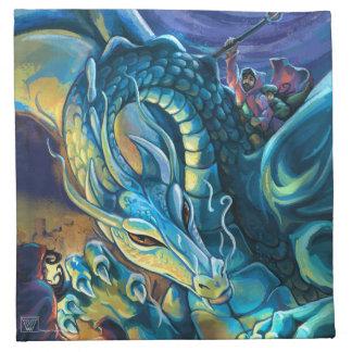 Blue Dragon Rider Cloth Napkin