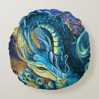 Blue Dragon Rider Round Pillow