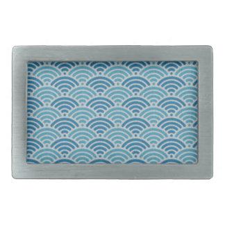 Blue Dragon Scale Vintage Kimono Pattern Belt Buckle