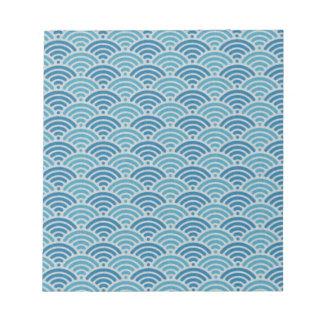 Blue Dragon Scale Vintage Kimono Pattern Scratch Pads