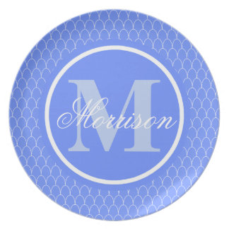 Blue Dragon Scales Monogram Plate