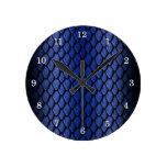 Blue Dragon Scales Round Clocks