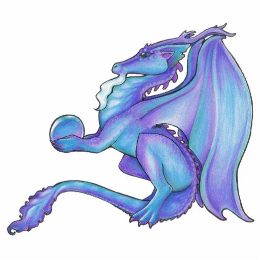 Blue Dragon Sculpture Keychain Photo Cut Outs