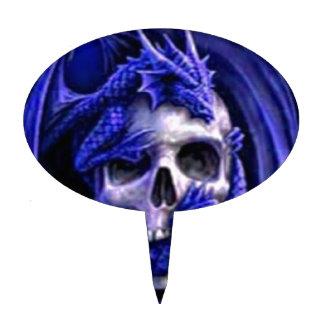blue-dragon-skull cake topper