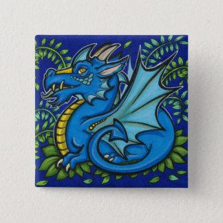 Blue Dragon Square Pinback Button
