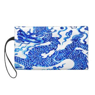 Blue Dragon Vintage Chinese Vase Designer Purse Wristlets