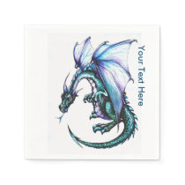 Blue Dragon White Cocktail Paper Napkins