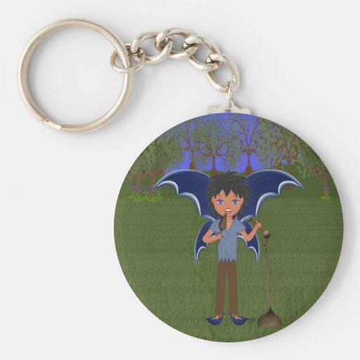 Blue Dragon Winged Musical Boy Faerie Basic Round Button Keychain