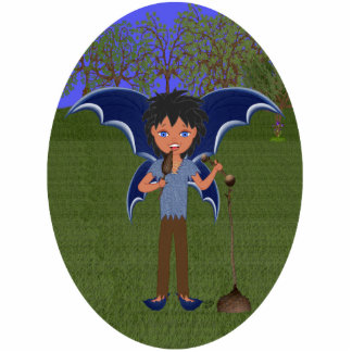 Blue Dragon Winged Musical Boy Faerie Cutout