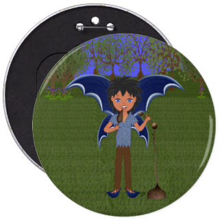 Blue Dragon Winged Musical Boy Faerie Pinback Button