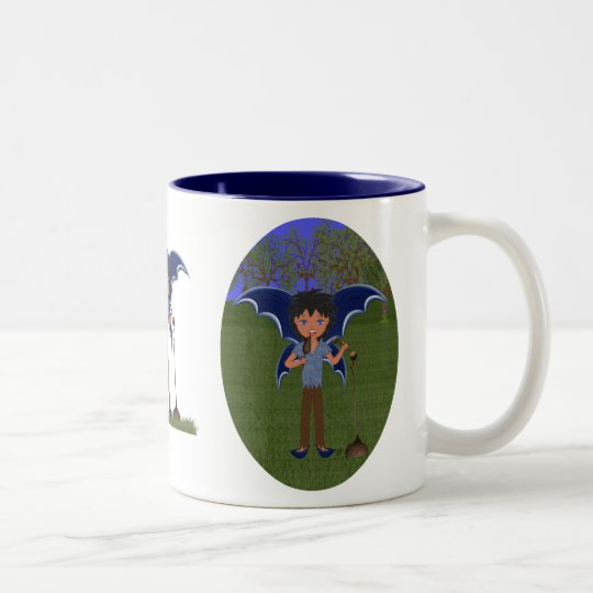 Blue Dragon Winged Musical Boy Faerie Two-Tone Coffee Mug