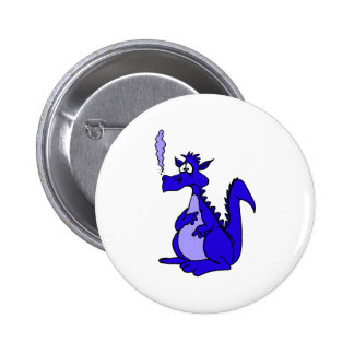 Blue Dragon with smoke 2 Inch Round Button
