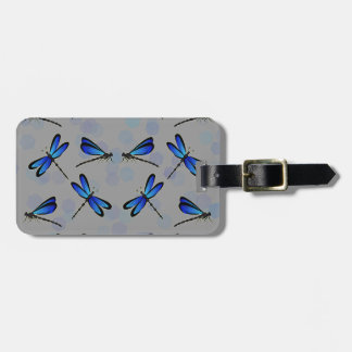 blue dragonflies bag tag