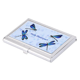 blue dragonflies business card holders