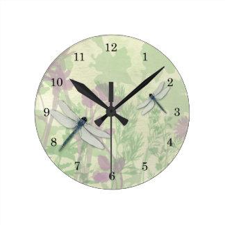 Blue Dragonflies Clock