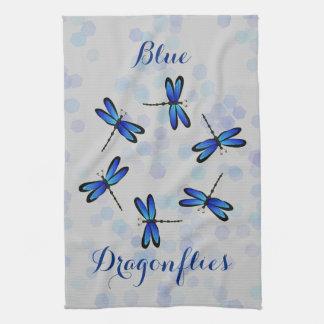 blue dragonflies hand towel