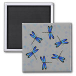 blue dragonflies II 2 Inch Square Magnet