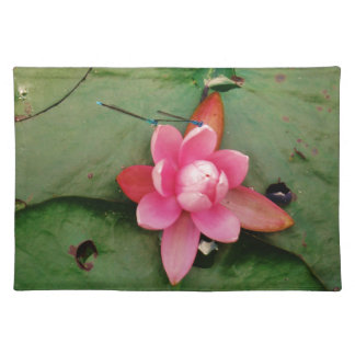 Blue Dragonflies on a pink lotus flower Placemat