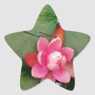 Blue Dragonflies on a pink lotus flower Star Sticker