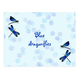 blue dragonflies postcard