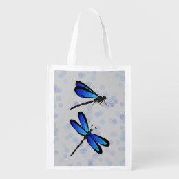 blue dragonflies reusable grocery bag