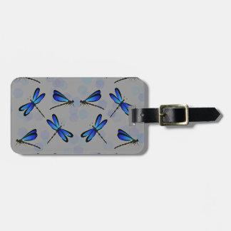blue dragonflies travel bag tags