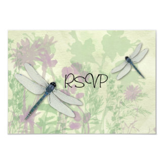Blue Dragonflies Wedding Reception RSVP 3.5x5 Paper Invitation Card